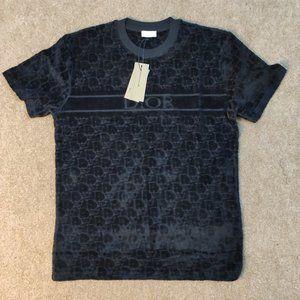 Dior Men Towel Fabric Black T-Shirt